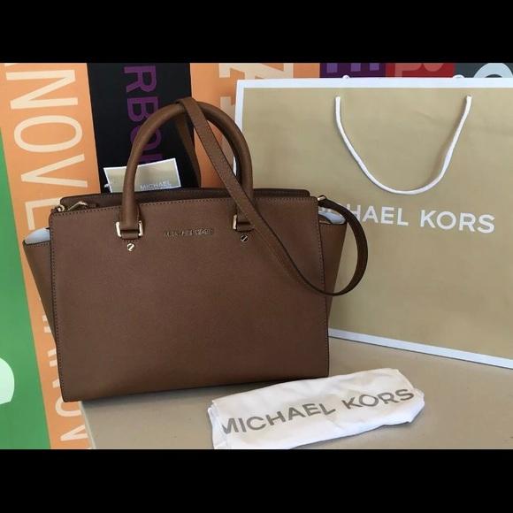 8a549ee16d2a  358 Michael Kors Selma Leather Handbag MK Purse